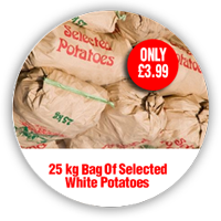 25 kg bag of selected white potatoes only £3.99